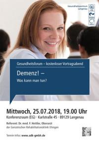 Gesundheitsforum Langenau, Demenz